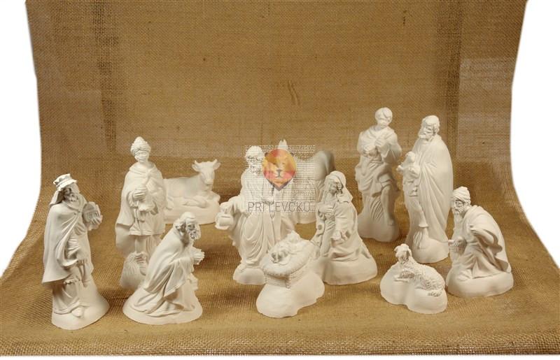 Ročno ulite jaslice iz keramične mase - 12 figuric