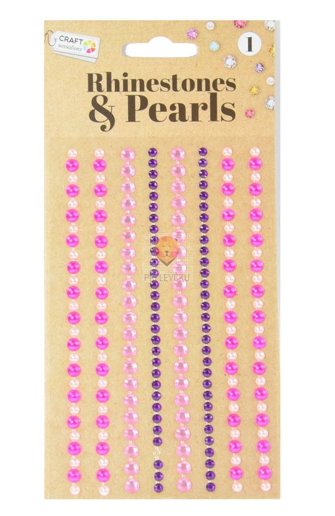 Samolepilne perle - kamenčki roza vijola 212 kosov