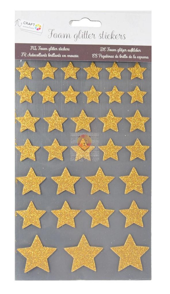 Moos gumi nalepke z bleščicami Zvezdice zlate 33 kosov
