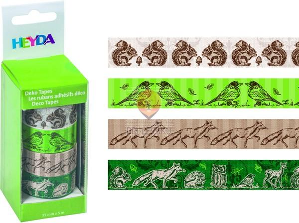 """Set novoletnih dekorativnih lepilnih trakov """"Veverice,"""" 15 mm x 5 m, 4 kos"""