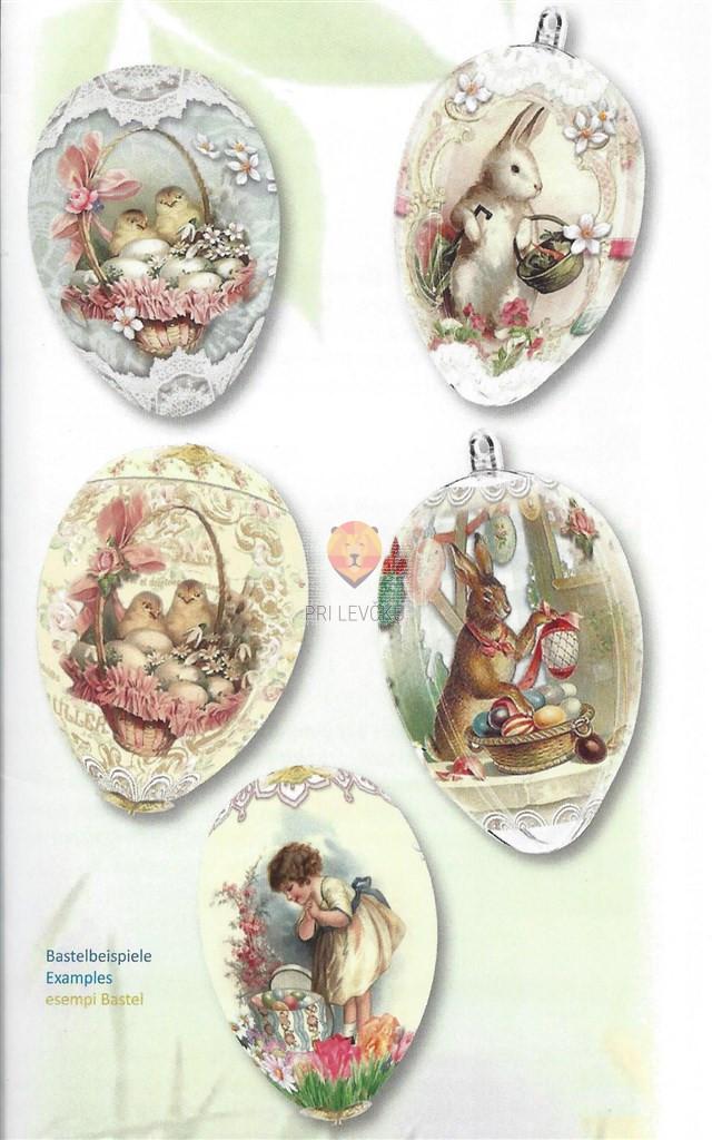"""Skrčljiva folija za velikonočno dekoracijo jajc - """"Zajčki in ptički,"""" 5 kos"""