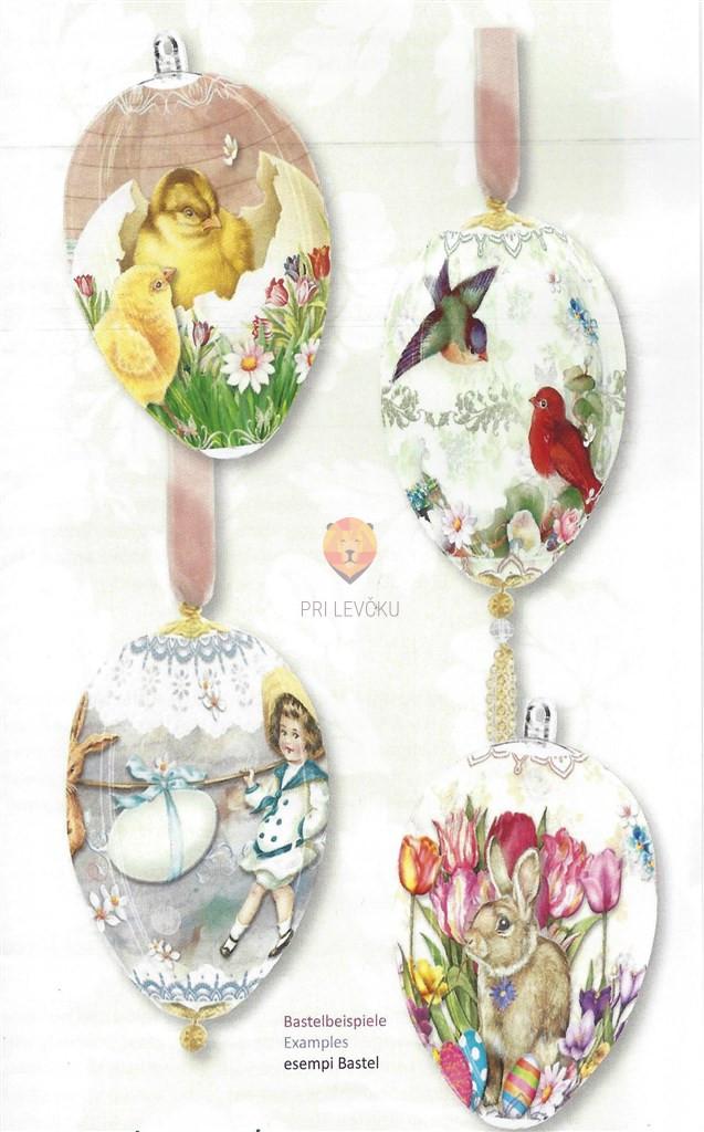 """Skrčljiva folija za velikonočno dekoracijo jajc - """"Piščanki, ptički, zajčki,"""" 4 kos"""