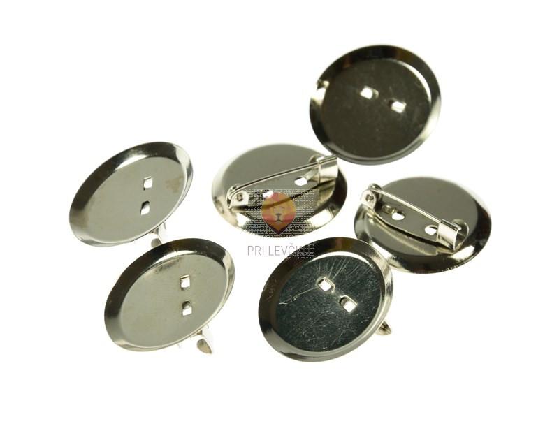Sponke za broške okrogle s ploščico 25mm 6 kosov