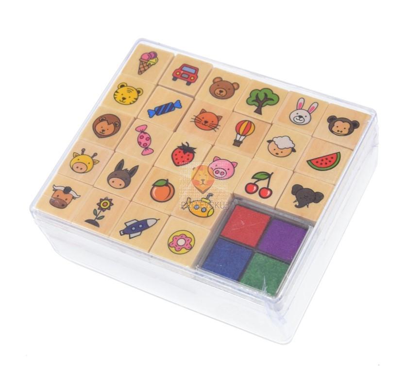 Lesene štampiljke Otroški motivi 26 kosov in 4 blazinice
