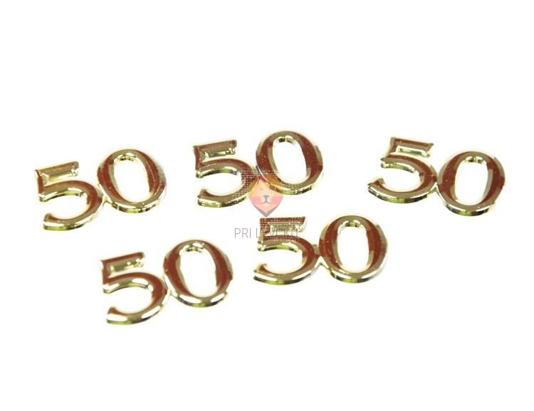 Številka 50 zlate barve višine 15mm 5 kosov