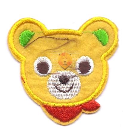 Našitek samolepilni - Medvedek oranžen 5 cm x 4,5 cm