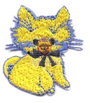 Našitek samolepilni - Mucka rumena 4,5 cm x 3,5 cm