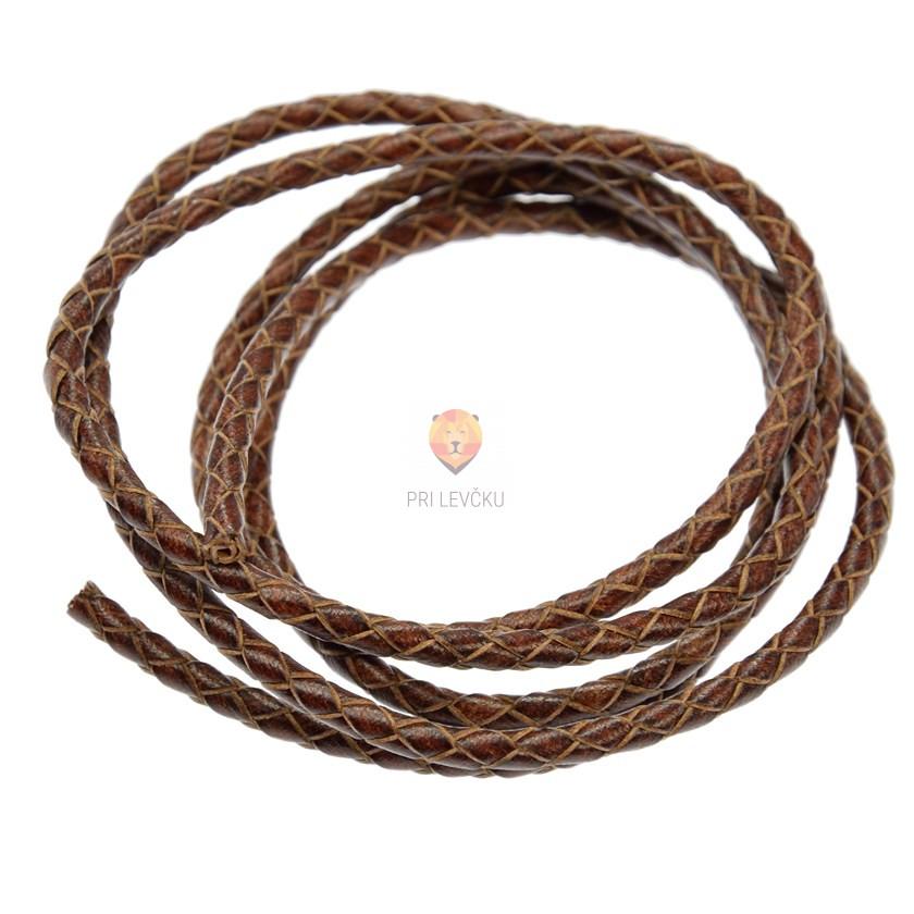 Usnjena vrvica, pletena okrogla, 3 mm x 1m