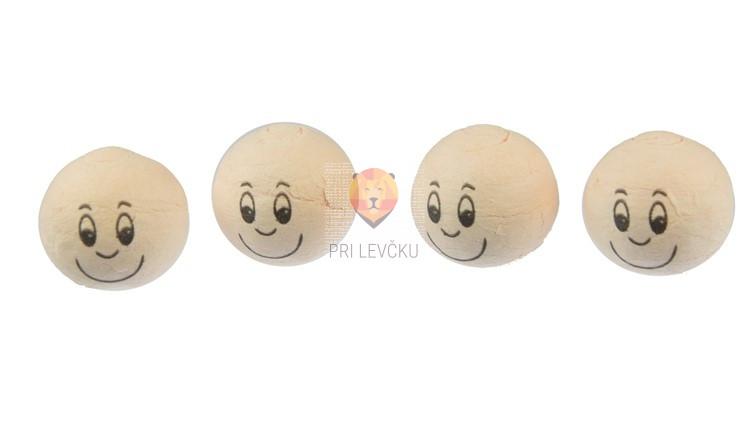 Vatne kroglice z nasmejanim obrazom kožne barve 25mm 4 kosi