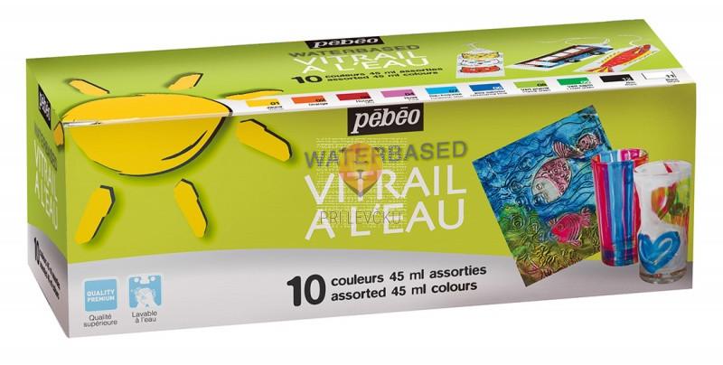 Set VITRAIL barv za steklo na vodni osnovi, 10 x 45 ml