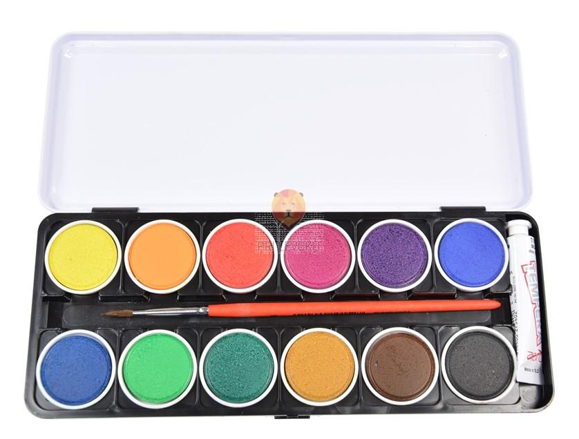 Vodene barve v kovinski škatli + bela tempera in čopič