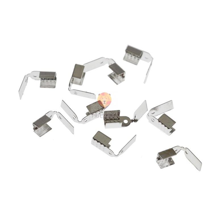 Zaključek za vrvico 5 mm, srebrne barve, 10 kos
