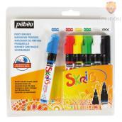 Gvaš flomaster Skrib set osnovnih barv 6 kosov