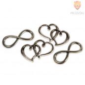 Kovinski dodatki za nakit - srce in neskončnost. 4 kos