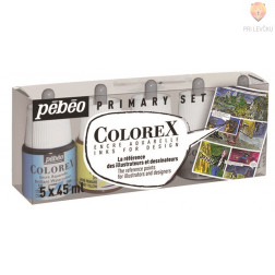 COLOREX  set akvarelnih transparentnih tušev 5x45ml + čopič