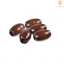Lesene perle ovalne za makrame temno rjave 32x22mm 5 kosov