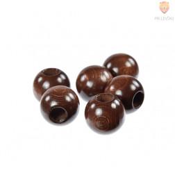 Lesene perle okrogle za makrame temno rjave 25x24mm 6 kosov