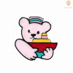 Našitek samolepilni - Medvedek z ladjico rožnat 4,5 cm x 5,5 cm