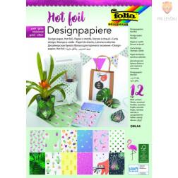 Designpaper blok Hot foil zeleno-pink A4 12 listov
