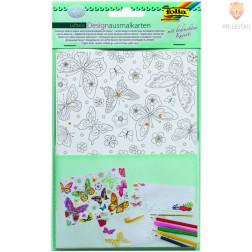 Set voščilnic pobarvank s kuvertami Ples metuljev 4 kosi