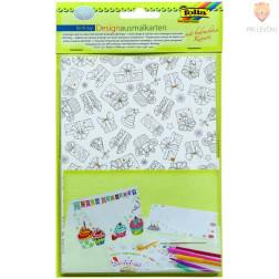 Set voščilnic pobarvank s kuvertami Rojstni dan 4 kosi