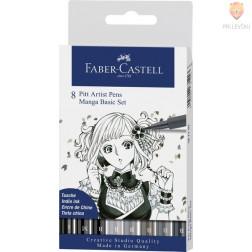 Pigmentiran tuš Brush Manga Basic Set Faber-Castell Pitt Artist Pen 8 kosov