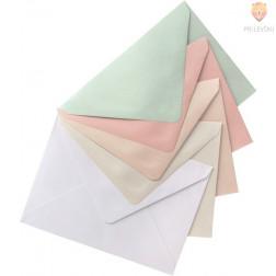 Set voščilnic in kuvert biserni karton pastelni miks 10,5x15cm 5 kosov