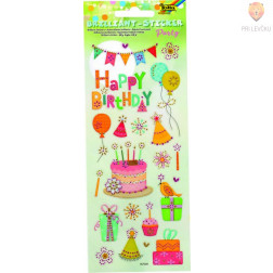 Svetleče nalepke Happy Birthday 1 pola 10x23 cml