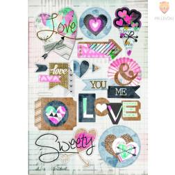 3D papirne nalepke Love 10 kosov