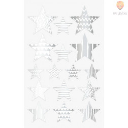 Nalepke za dekoracijo Zvezdice srebrne 17-37mm 64 kosov