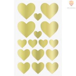 Nalepke za dekoracijo Srčki zlati 17-37mm 64 kosov
