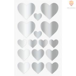 Nalepke za dekoracijo Srčki srebrni 17-37mm 64 kosov