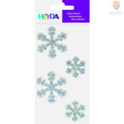 Tekstilne nalepke snežinke srebrne 4 kosi