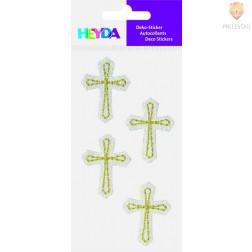 Tekstilne nalepke Križi belo-zlati