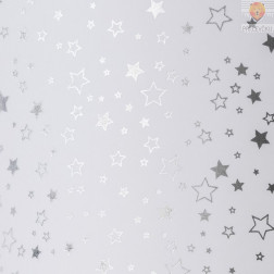 Transparentni papir s svetlečim potiskom Zvezdice srebrne 50x70cm 1 kos