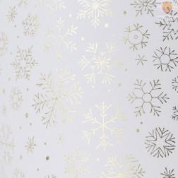 Transparentni papir s svetlečim potiskom Snežinke zlate 50x70cm 1 kos