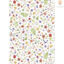 Transparentni papir z motivi Akvarelne rože 115g/m2 50x70cm 1 kos