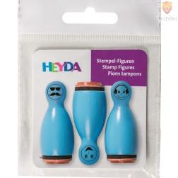 Lesene štampiljke figurice Smeški modri 3 kosi