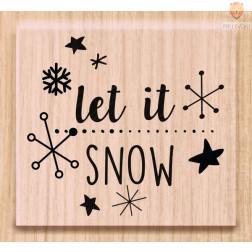 Lesena štampiljka Let it snow 1 kos