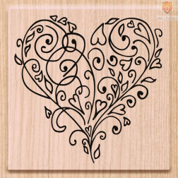 Lesena štampiljka Srce 1 kos