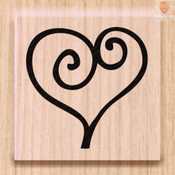 Lesena štampiljka Srček 1 kos
