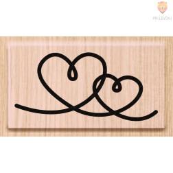 Lesena štampiljka Dva srčka 1 kos
