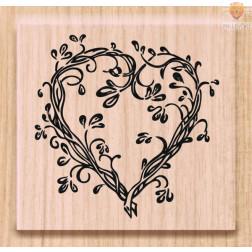 Lesena štampiljka Srce 2 1 kos