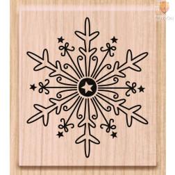 Lesena štampiljka Snežinka velika 1 kos