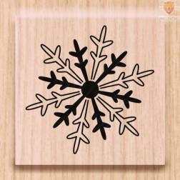 Lesena štampiljka Snežinka mala 1 kos