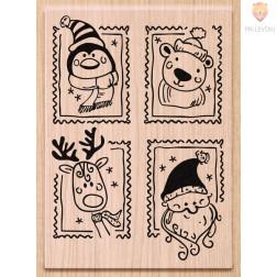Lesena štampiljka Božične poštne znamke 1 kos