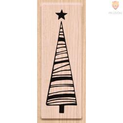 Lesena štampiljka Smrečica z zvezdico 1 kos