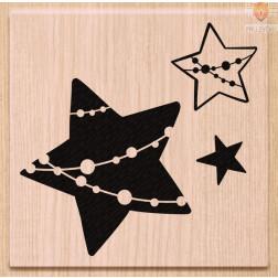 Lesena štampiljka Tri zvezdice 1 kos