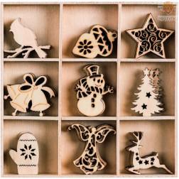 Leseni okraski v škatlici Božični okraski III 45 kosov