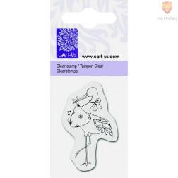 Prozorna silikonska štampiljka Štorklja in dojenček